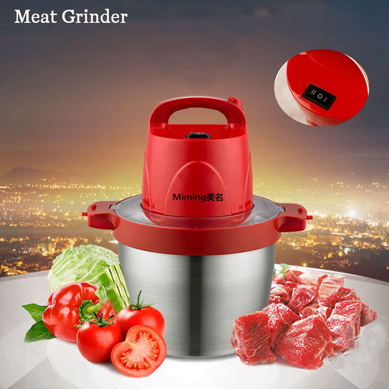 5L Meat Grinder Household Electric Large Capacity Meat Cutter Stainless Steel Crushed Garlic Pepper Ginger Slice Cuisine HB-808 cukyi household electric multi function cooker 220v stainless steel colorful stew cook steam machine 5 in 1