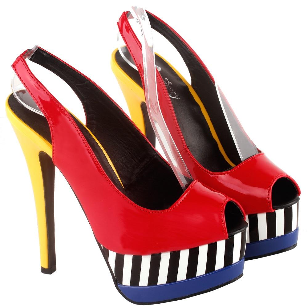 Details about  /SHOW STORY Glam Stripe Peep Toe Slingback Stiletto Double Platform Dress Pump