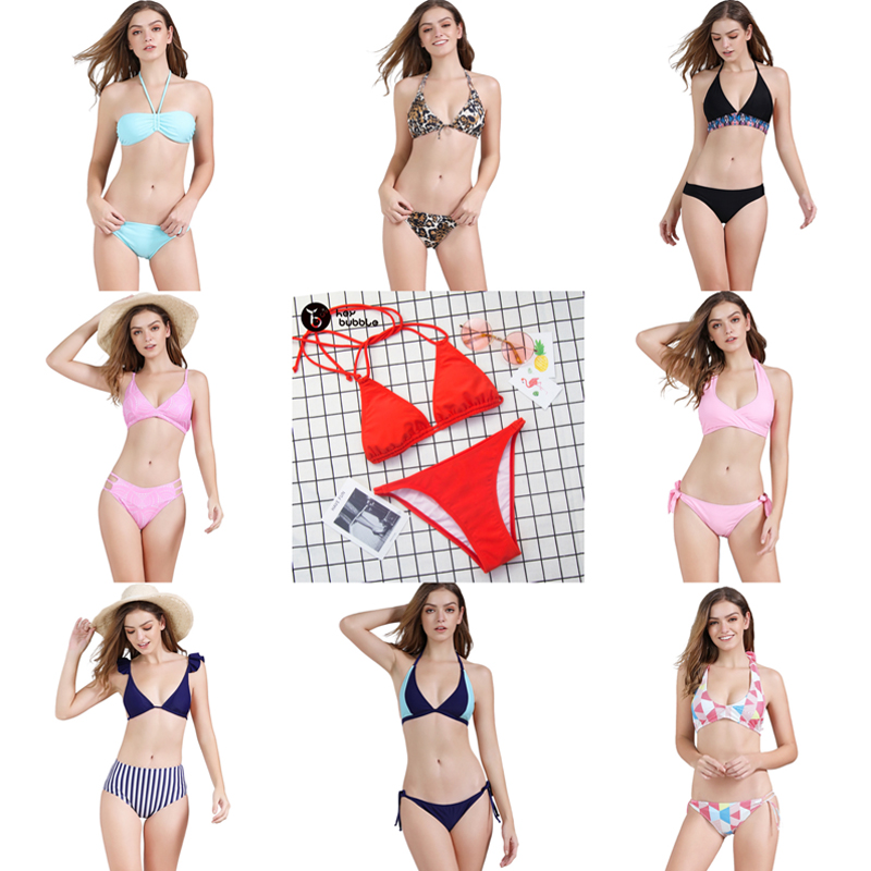 Bikini 2019 Swimwsuit Women Sexy Swimwear Push up Bandage Halter Set Low Waist Padded Beachwear Drop shipping S-XL