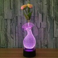Lámpara de noche de luz LED jarrón de flores color de rosa regalo del día de san valentín de Carga USB 3D ilusión Visual Luz de 7 Colores Cambio Touch Control