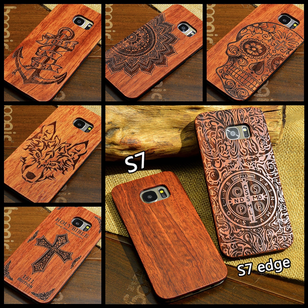 Us 759 5 Offnatural Wood Phone Case For Samsung S7 S8 Plus Wooden Cover Real Bamboo Carving Hard Back Phone Case For Samsung Galaxy S7 Edge In