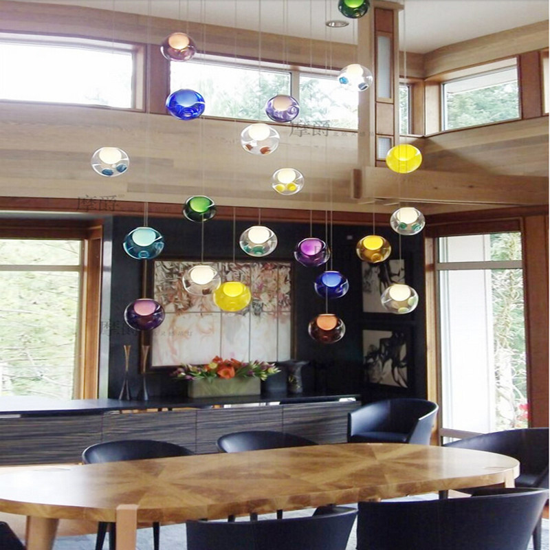 Creative DIY Candy Colors Crystal Glass Pendant Light For Dining Room Restaurant Bar Decor Led G4 AC 96 265V Droplighting 1770 In Lights From