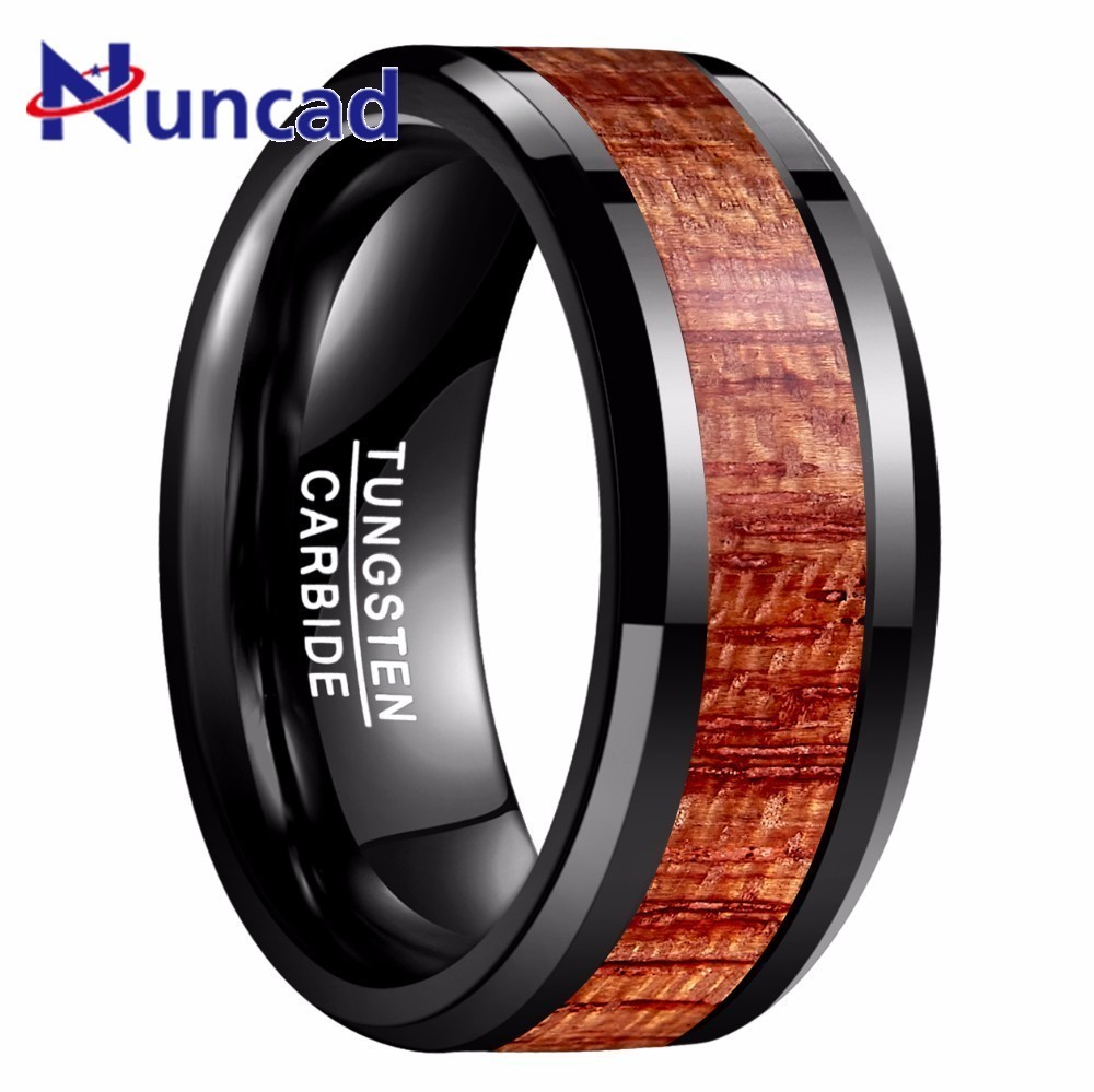 2018 New Arrival 10mm Brown Artichoke Wood Rings Carbide High Polished Black Color Tungsten Ring For Men Weeding Jewelry ...
