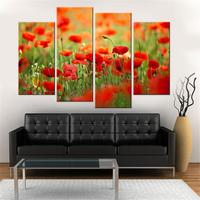 Drop Shipping Modern Canvas Painting Wall Art Print Oil Painting Red Poppies Home Decor Flower Print