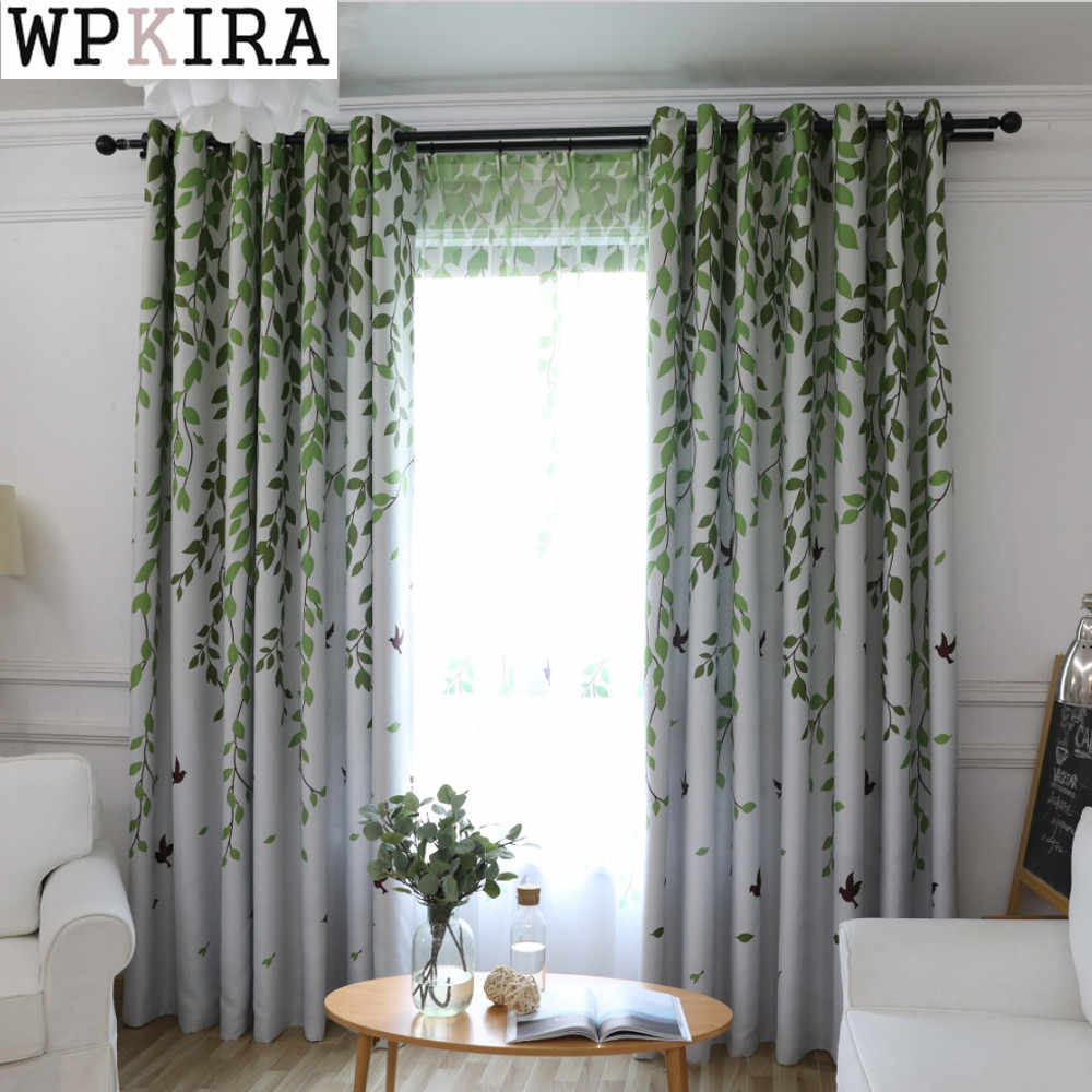 Traditional Turquoise Birds Thermal Insulated Blackout Curtain for Living Room Bedroom Children Room Princess Baby Room 207&30