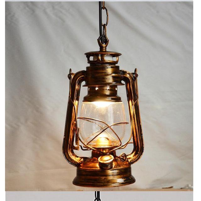 Luces Retro Colgante jaula Industrial lámpara de queroseno ...