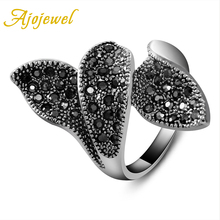 Free Shipping 18K White Gold Plated Vintage Leaf Ring