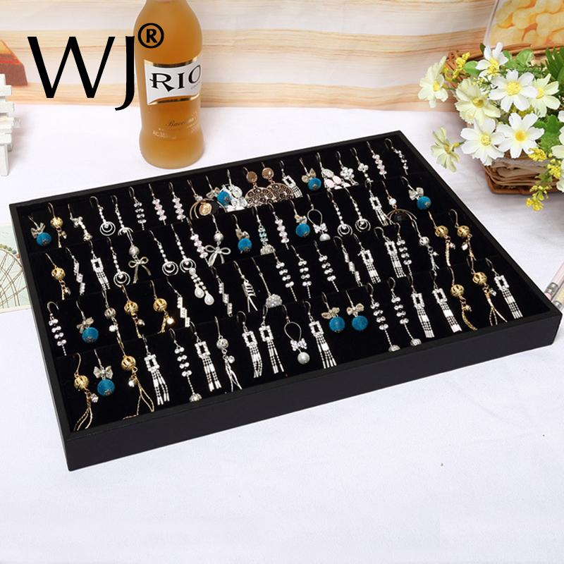 Black Compartment Organizer Bouches Earrings Display Tray Jewelry Storage Ear Rings Stand Holder Showcase for Shop Countertop