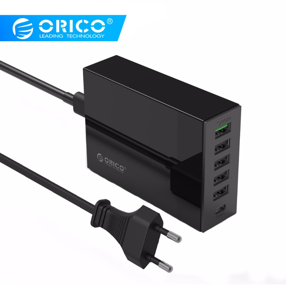 ORICO TSL-6U USB Charger Type-C QC2.0 Quick Charger 6-port 5