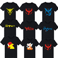 2016 pokemon go plus t-shirt camiseta pokemon pokemon ir camisa Da Equipe de Valor Místico Instinto ir camiseta homme pokemon t-shirt