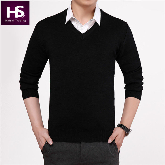Black Sweater Men 2015 New Winter Thick Warm Mens Sweaters V Neck ...
