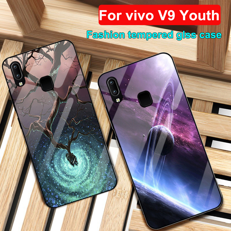 For vivo V9 Youth case Starry sky tempered Glass + TPU Edge Slim Thin Hard Back Cover V9Youth case vivoV9 Youth protection shell