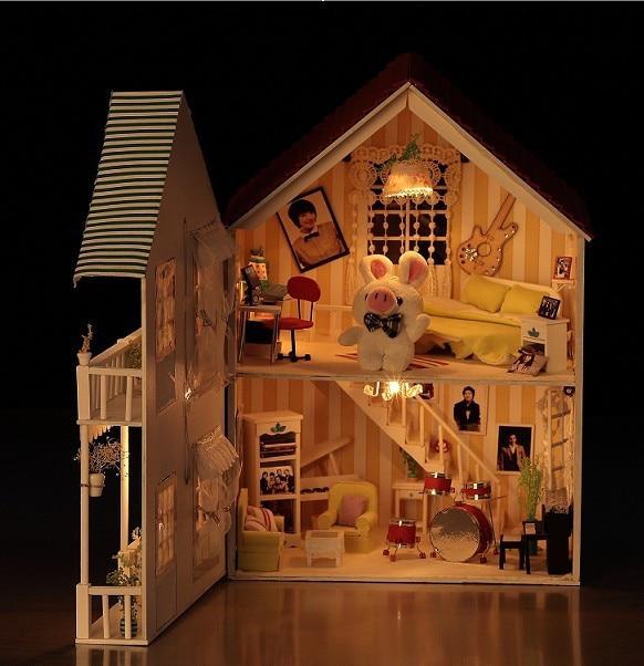 ФОТО Diy Doll House Model Building Kits Miniature 3D Handmade Wooden Dollhouse Toy Christmas Bristday Creative Gift-House of Music