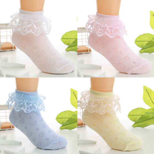 Kid Girls Ankle High Cute Lace Frilly Ruffle Cotton Princess Socks Big Bow White Kids Socks Baby Girls Clothes Girls Socks