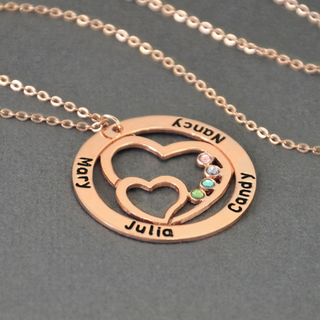 Personalized Name Necklace with Birthstone, Round Custom Family Necklace Double Heart in the Circle, Gift for Women