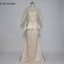 0f21d038e5 E JUE SHUNG Champagne Lace Vintage Mermaid Długi matka panny Młodej Suknie  Pół Rękawy Peplum Sukienki Wizytowe szata de wieczór
