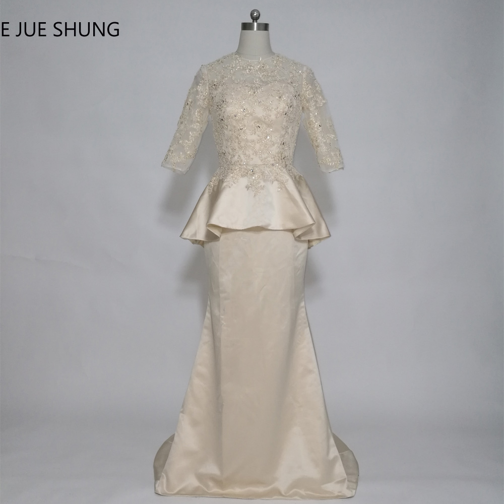 E JUE SHUNG Champagne Vintage Lace Mermaid Long Mother of the Bride Dresses Half Sleeves Peplum Formal Dresses robe de soiree