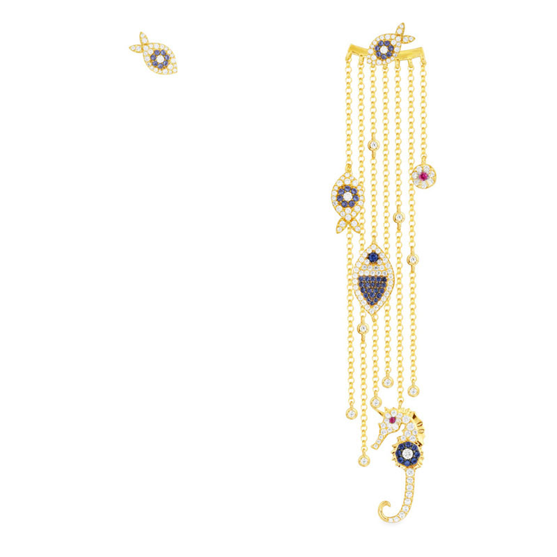 SLJELY الفاخرة العلامة التجارية 925 فضة غير المتماثلة الذهب الأصفر اللون العين محظوظ الأسماك شرابة أقراط المرأة الأزياء موناكو مجوهرات-في أقراط متدلية من الإكسسوارات والجواهر على  مجموعة 1