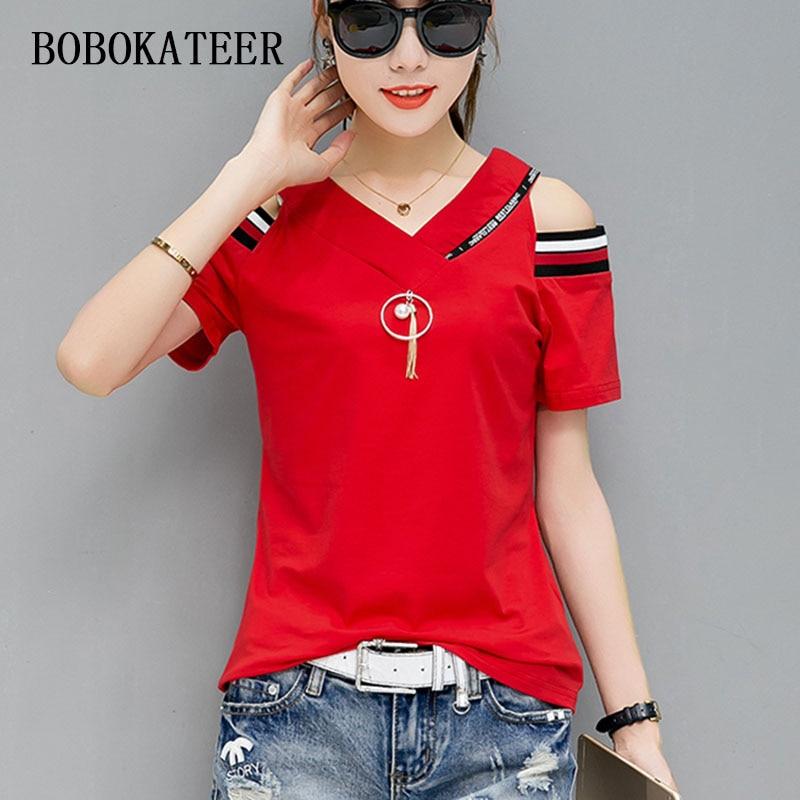 BOBOKATEER Off The Shoulder Tops For Women Tshirt Summer 2019 T-shirt Cotton T Shirt Women Shirts Tee Shirt Femme Camiseta Mujer