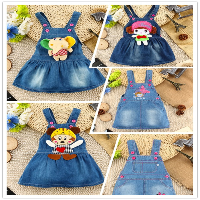 Hottest Princess Belt Dress Girls Cute Cartoon Jeans Dress
