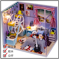 Hongda DIY wooden doll house boys bedroom miniature dollhouse D009