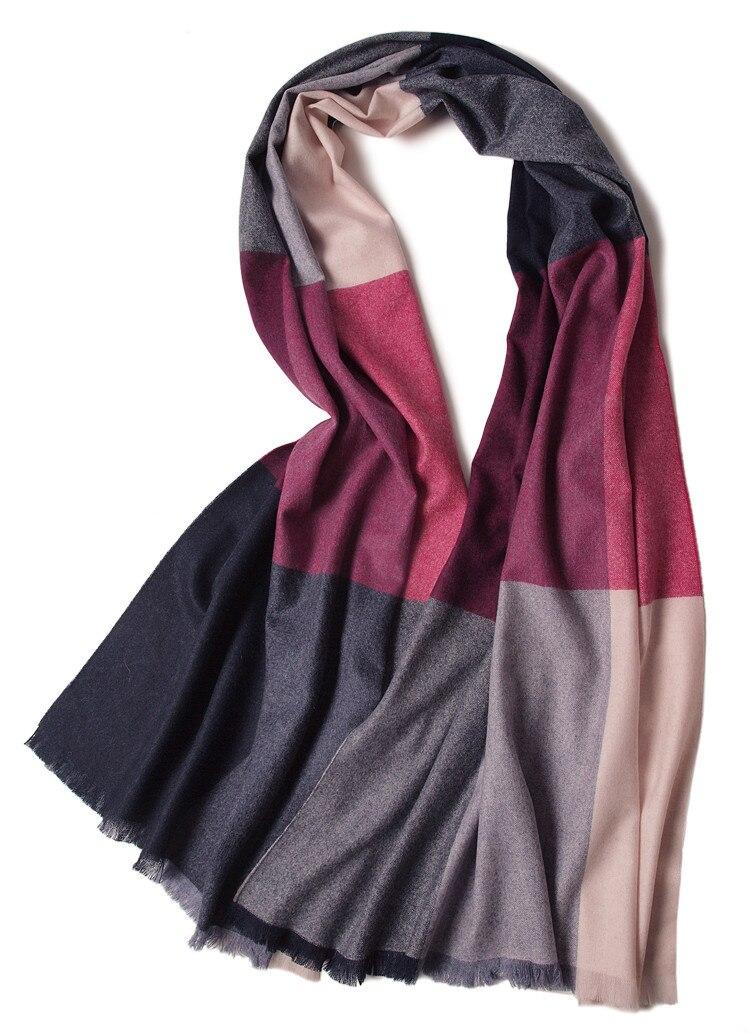 Шаль из 100% козы, кашемировые женские модные разноцветные шарфы в клетку, шаль из Пашмина, средней толщины, маленькая кисточка 70х200см