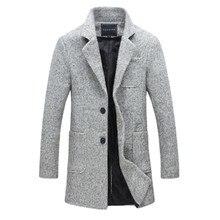 2016 Новый Прибытие Марка Зима Теплая Мужская Мода Шерсти Пальто смесь Пальто Для Мужчин Повседневная Slim Fit Пальто Мужчины Размер M-5XL