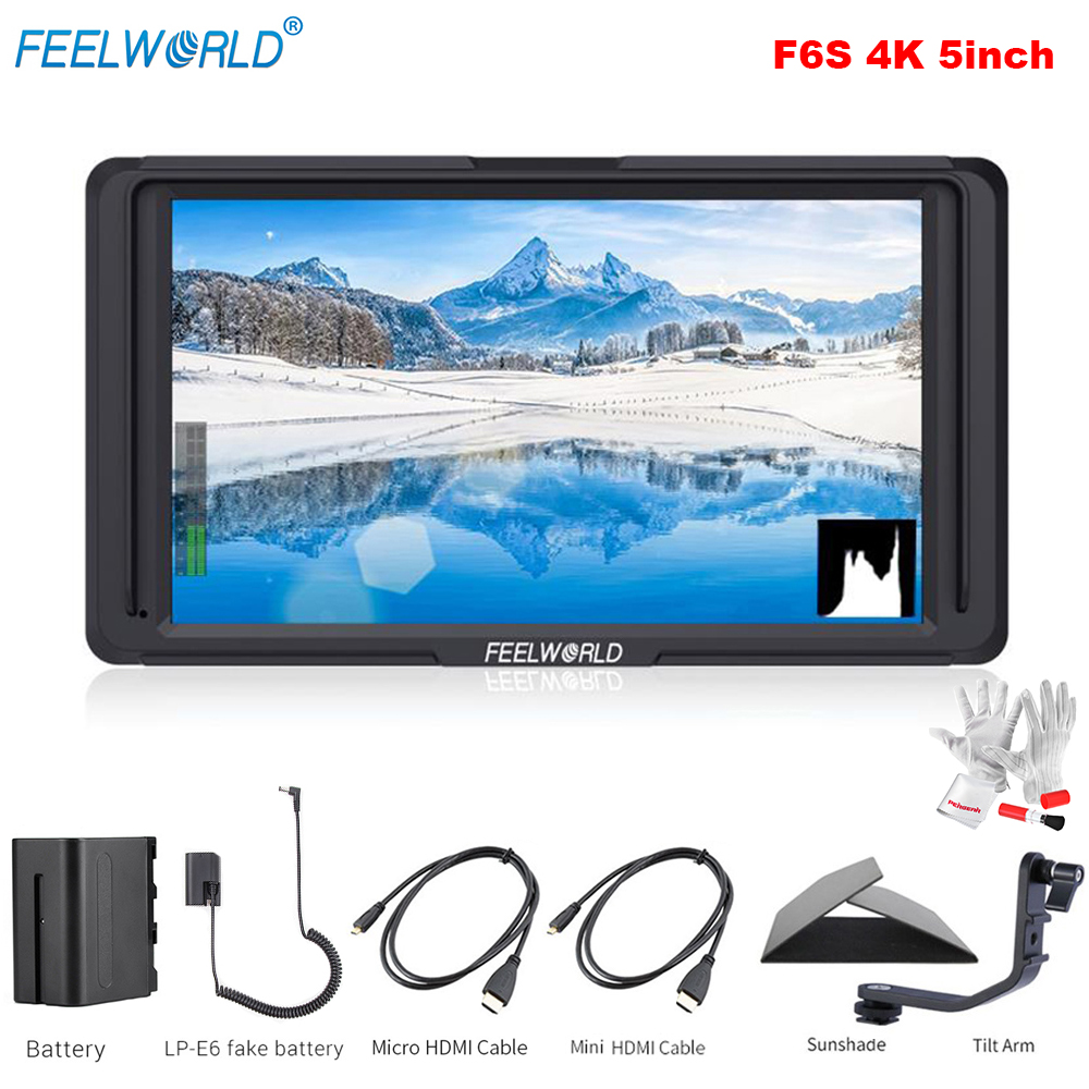 Feelworld F6S 5inch 4K HDMI Input Full HD On Camera Monitor with Battery for DSLR Camera