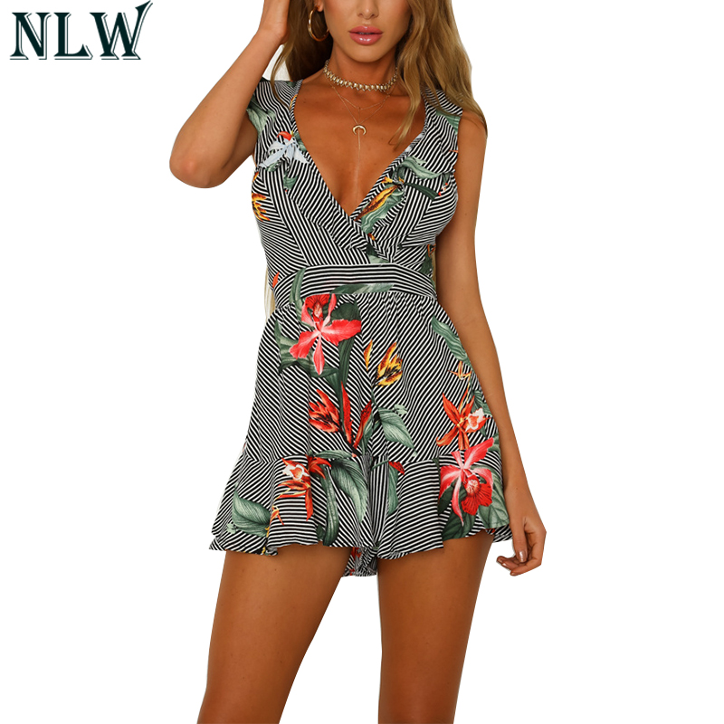 147874f193 NLW Black Striped Ruffle Sexy Playsuit Women V Neck Peplum Short Leg  Jumpsuit 2018 Summer Boho Romper Beach Party Chic Overalls
