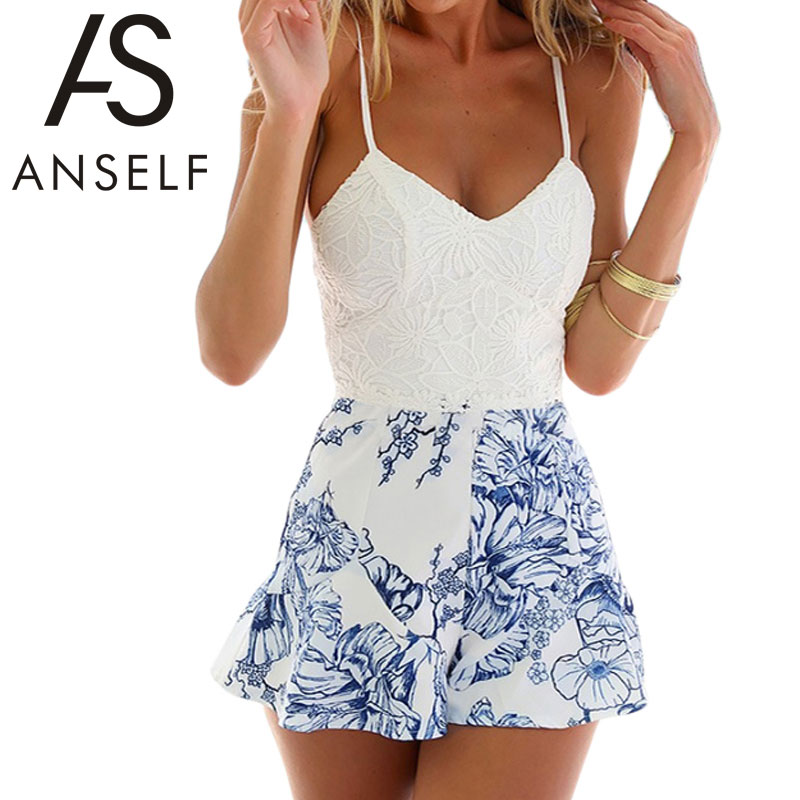Anself 2017 Summer Women Lace Elegant   Jumpsuit   Romper Floral Print Backless Sexy Playsuit One Piece Short Party Beach Overalls