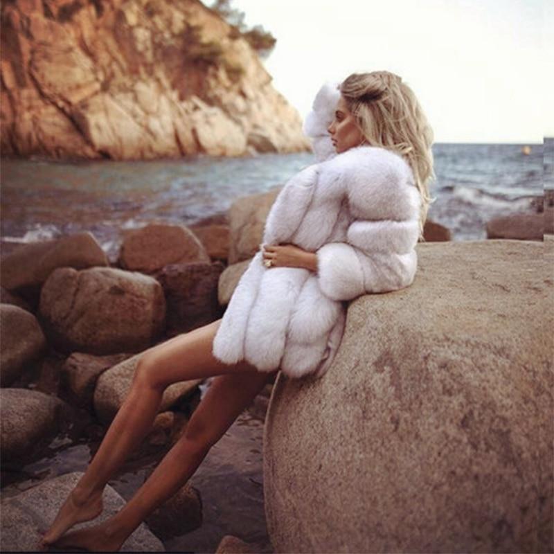 FURSARCAR 70cm Long Real Fox Fur Coat Women Winter Genuine Natural Fur Female Jacket Winter Thick Whole Leather Fox Fur Coat