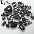 All Shapes Sizes Amethyst Color Sew On Rhinestone Sewing Glass Crystal Stone In Metal Claw 4 Hole for Dress Decoration Accessory