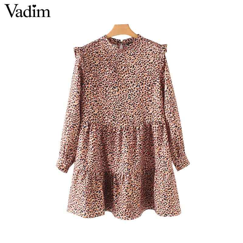 Vadim sweet ruffled leopard mini dress animal patttern long sleeve straight female wild stylish dresses vestidos mujer QB316