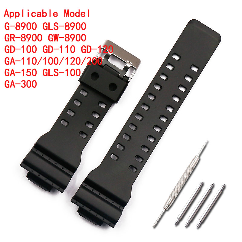 16mm rubber strap men 39 s pin buckle sports waterproof silicone strap for Casio g shock watch accessories female watch band in Watchbands from Watches