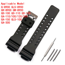 лучшая цена 16mm rubber strap men's pin buckle sports waterproof silicone strap for Casio g-shock watch accessories female watch band