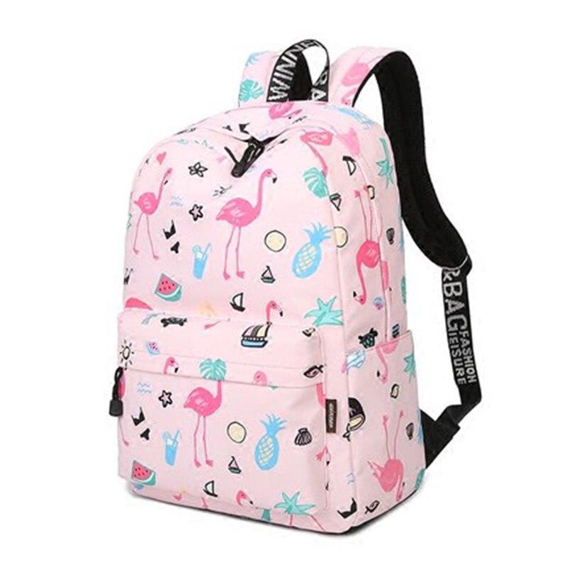 Waterproof Women Backpack Cute Bookbag Pink Flamingo Animal Knapsack Printing School Bagpack Bag For Teenage Girls Mochila #2