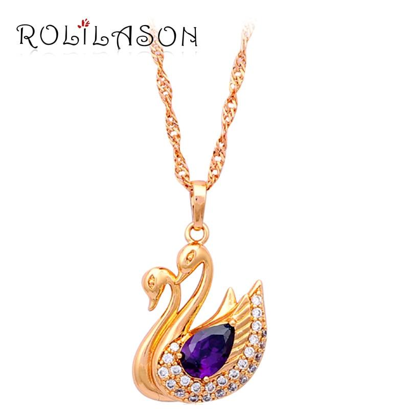 Goose style yellow gold tone Necklace & Pendants allah Purple AAA Zirconia Zircon Crystal Fashion jewelry LN189