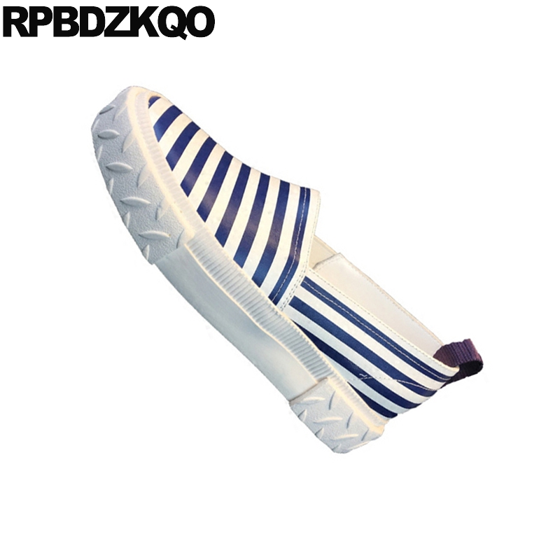 Rond Semelle Cuir Ascenseur Bleu De Muffin Luxe Bout Rayé Appartements Femmes Assorties Plate Chinois Sneakers Épaisse En forme Creepers Chaussures Véritable qq8T1