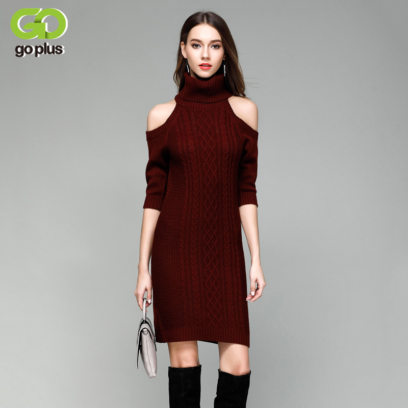 6e1513d53c2 Online Shop GOPLUS New Off Shoulder Turtleneck Sweater Dress Bodycon Cable  Knit Wine Red Three Quarter Sleeve Women Dresses C4777