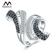 MDEAN White Gold Color Rings for Women Engagement AAA Zircon Jewelry Women Wedding Ring Fashion Accessories
