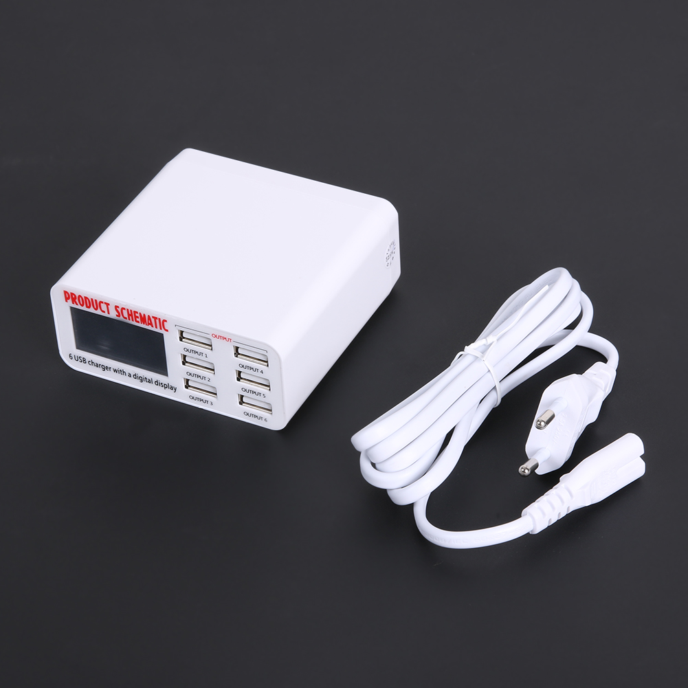 5V 6A 6 USB Port Quick Charger Adapter Station USB Hub Power Supply ...