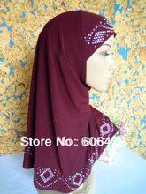 mu1163 classic two pieces Hot Drill muslim hijab fashion Soft Brim wholesale 12 pcs per dozen islamic Female Caps