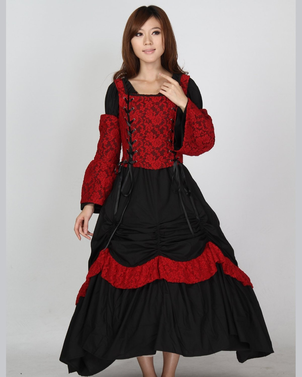 Gothic Corset Lace Lolita Civil War Pattern Bodice Dress Ball Gown Promin Cocktail Dresses from