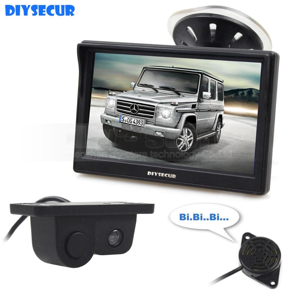 DIYSECUR Wired 5 Inch Color TFT LCD Car Monitor Waterproof Parking Radar Sensor Car font b