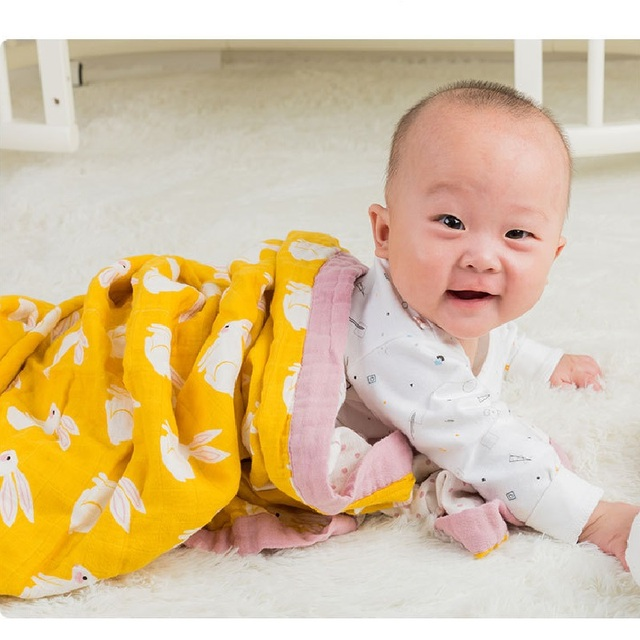 Baby Blanket Organic Cotton Muslin Super Soft Thick Quilt Swaddle Kids Bath Towel Stroller Monthly Blankets Newborn Wrap Swaddle For All (0-3 years) Nursery Shop by Age Swaddle Blankets