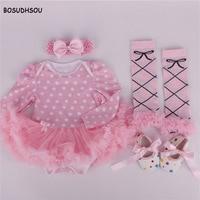 Bosudhsou MC-6 4pcs Stylish Jewel Collar Long Sleeve Gauze Baby Girls Romper Dress Headband Foot Cover Shoes Children Clothing