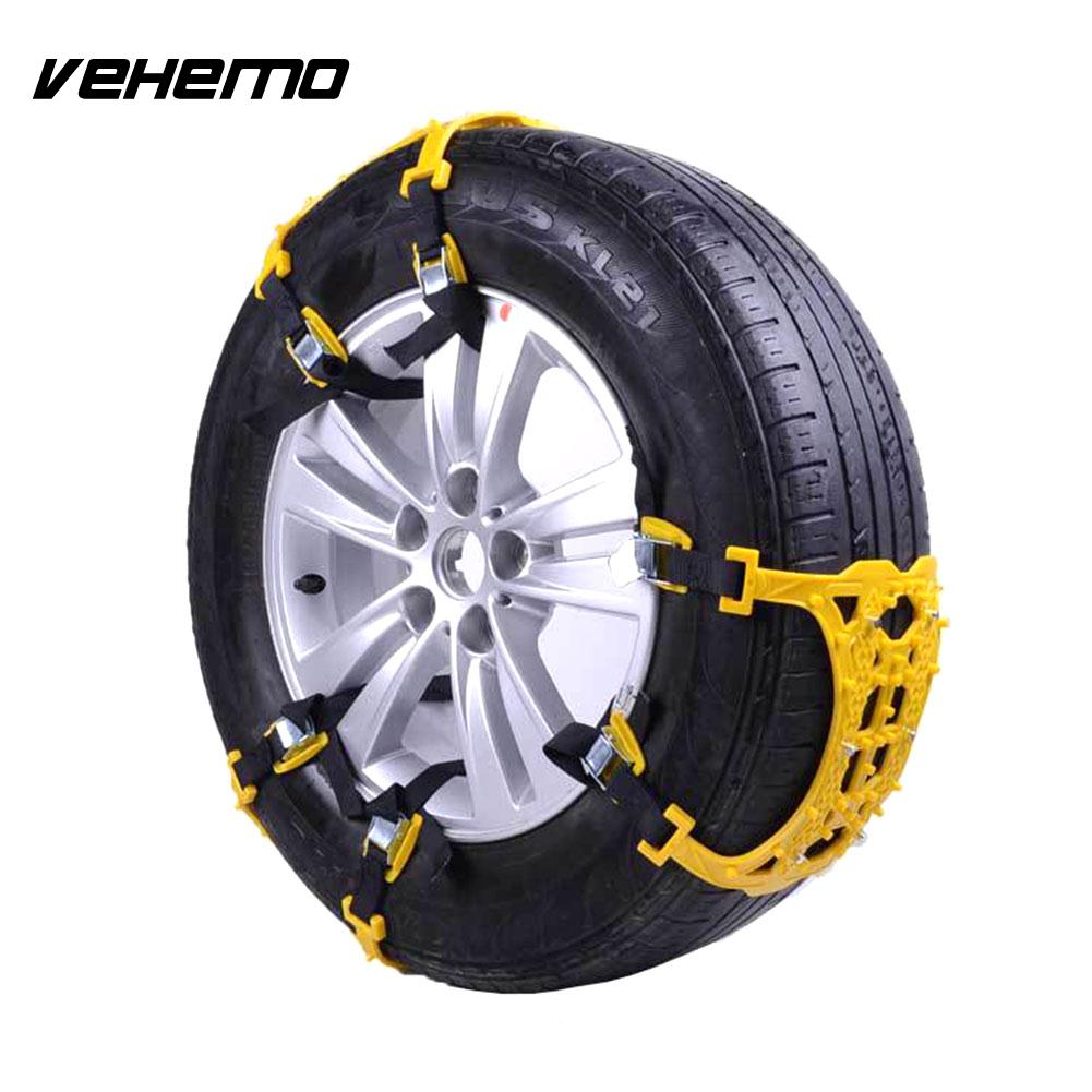 Vehemo Snow Chain Anti-Skid Chains Snow Tire Belt 1 Pc Yellow Thickened Roadway Safety Mud Wheel Vihecle Accessories Universal