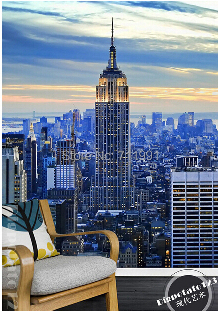 Custom Photo Wallpaper Papel De Parede In The Early Morning Street New York Skyscraper For Interior