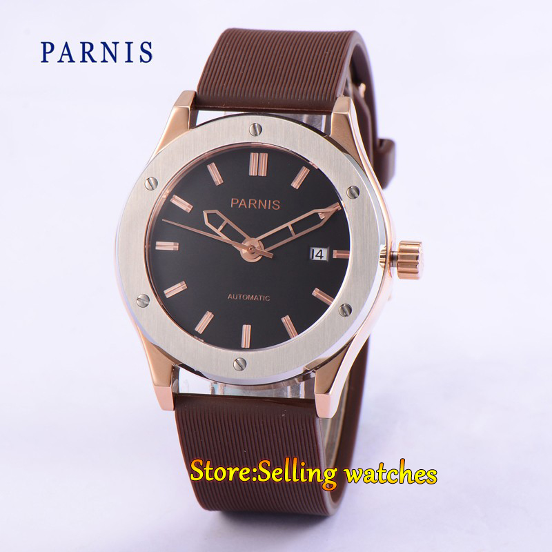 Parnis 44mm black dial Stainless steel case automatic mens Date Day watch 40mm parnis stainless steel case black dial orange second hands mens automatic wristwatches pa4002sbo