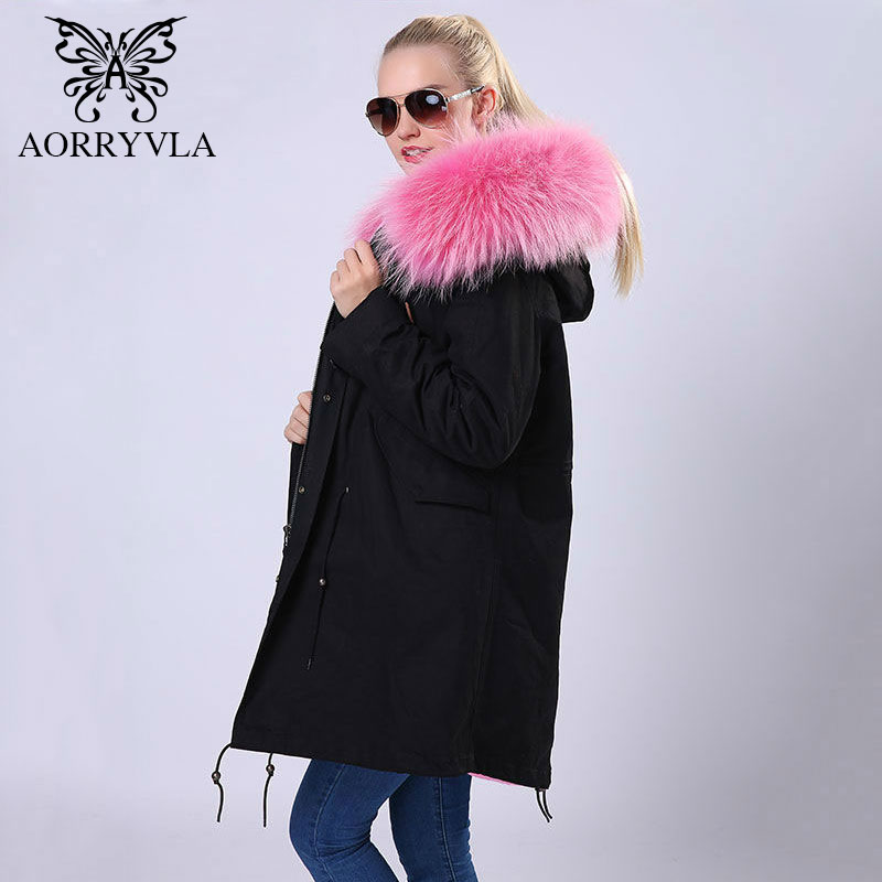 AORRYVLA New Winter 2017 Women Parka Long Jacket Real Raccoon Fur Collar Hooded With Faux Fur Liner Casual Female Warm Outerwear new long warm raccoon fur collar coat women winter real fox fur liner hooded jacket women bomber parka female ladies fp9116